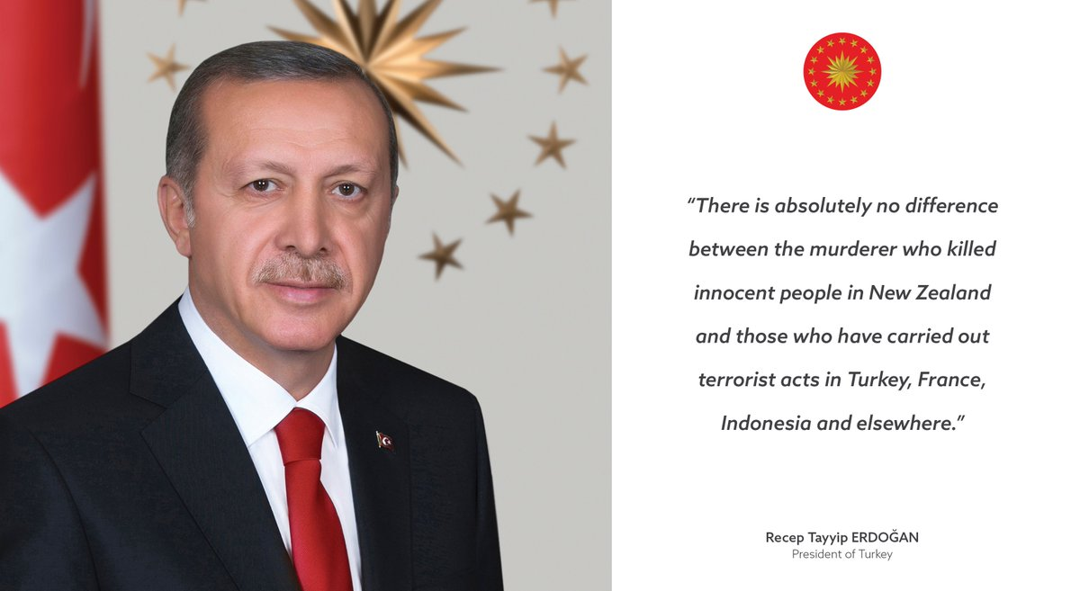 "President Erdoğan pens an opinion for the Washington Post: ""There is absolutely no difference between the murderer who killed innocent people in New Zealand and those who have carried out terrorist acts in Turkey, France, Indonesia and elsewhere.""  https://www. tccb.gov.tr/en/articles/19 00/102577/the-article-published-in-the-washington-post &nbsp; … <br>http://pic.twitter.com/YYi96oTS2W"