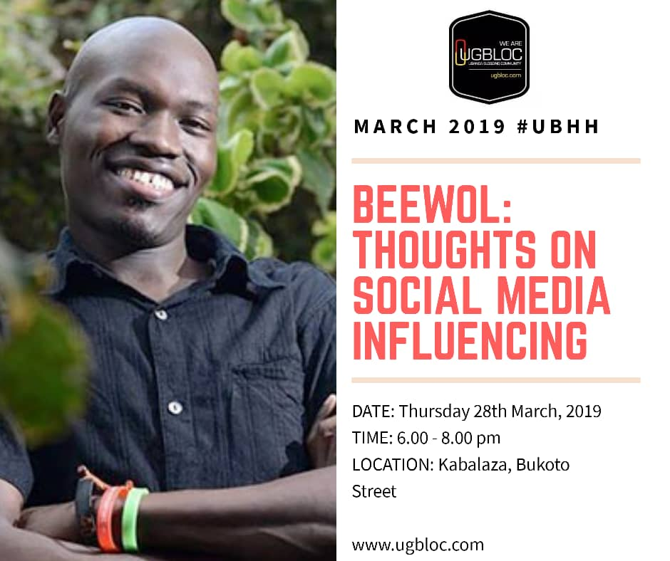 Bloggren,   We are at it again with the glad tidings.   This March we will be hosting Bernard Olupot Ewalu, aka @beewol for our Happy Hour. Bernard is an Influencer and he will be sharing on the art of social media influencing.  Plan to attend  and please RT for awareness  #UBHH<br>http://pic.twitter.com/CHcmyENg2Q