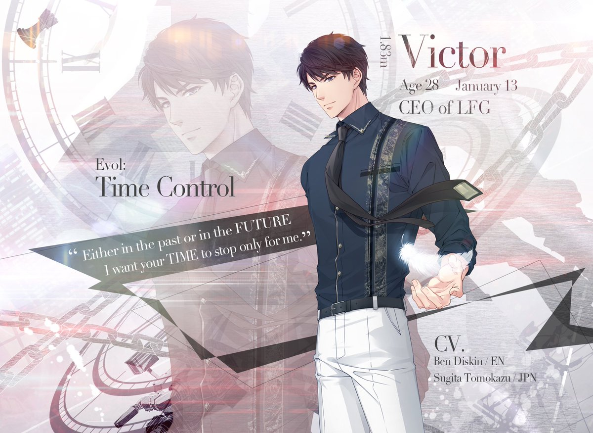 &quot;Either in the past or in the future, I want your time to stop only for me.&quot;  What&#39;s your first impression of Victor? Let us know in the comments.  *Every male character will have a post of his own, please make sure you write down your first impression of the correct character. <br>http://pic.twitter.com/kygfKU4Fsc