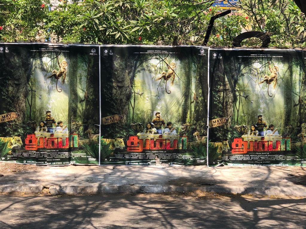 Thumbaa Thumbaa #Thumbaa everywhere! 🐅 Have you noticed our posters around the city? 😁  #ThumbaaFirstLook @harishramlh @anirudhofficial @IamVivekSiva @MervinJSolomon @DhayaSandy @Darshan_Offl @ActDheena  @ikeerthipandian @RegalReels @rolltimestudios