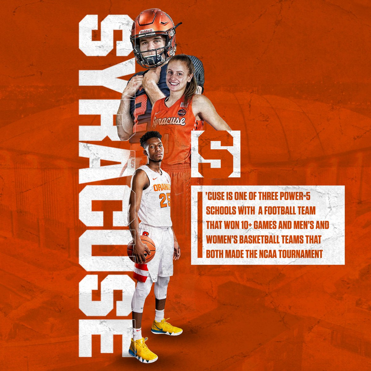 Orange Success 🍊💪  P5 schools with 10+ football wins & men's and women's basketball in NCAA Tournament: 🔸 Syracuse 🔸 Kentucky 🔸 Michigan