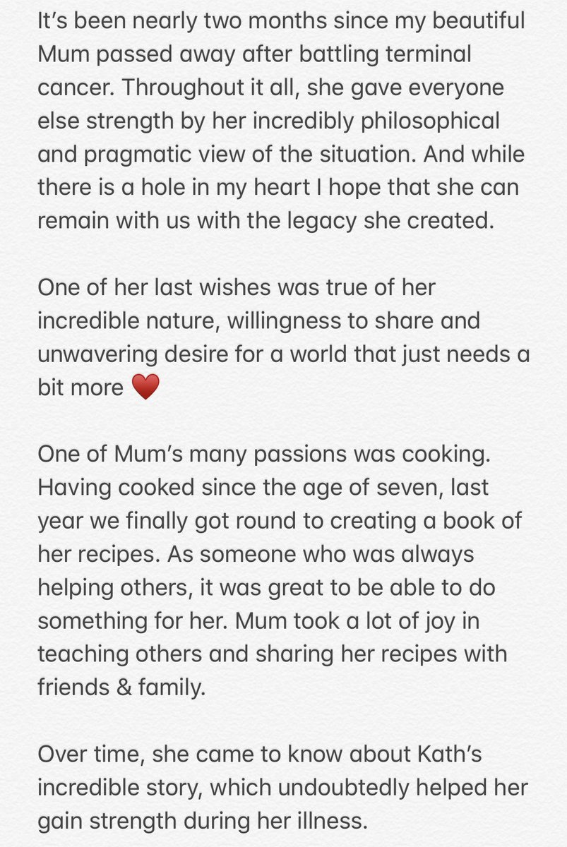 This is a difficult one but hoping something positive can come out of something so heartbreaking, by bringing together two incredible humans. Mum & @KathKoschel. To see Kath's story https://vimeo.com/324889808 & order a book https://bit.ly/2TD20ix Hugely appreciate any support 🌹🌹