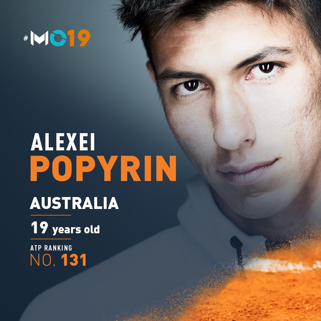 Won 2017 @rolandgarros juniors with long slicked back hair. Cut his hair, even dyed his hair, didn't care: rose from ATP No. 621 to No. 149 in 2018. Reached the 2019 #AusOpen 3R after defeating Dominic Thiem.  Can @AlexeiPopyrin99 claim the  at home?  #MO19 | @ATPChallenger<br>http://pic.twitter.com/VM53EG34zY