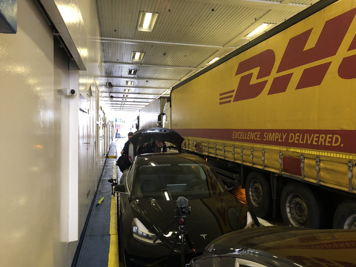 Now on the ferry from Denmark to Sweden. Bunker fuel?  No, not this one. 100% electric