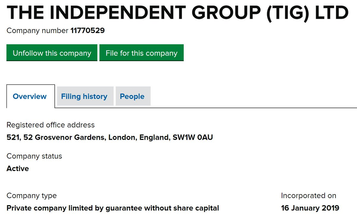 The company underpinning @TheIndGroup has changed its name from Gemini A Ltd to The Independent Group (TIG) Ltd, and moved its registered address from Manchester to Westminster.