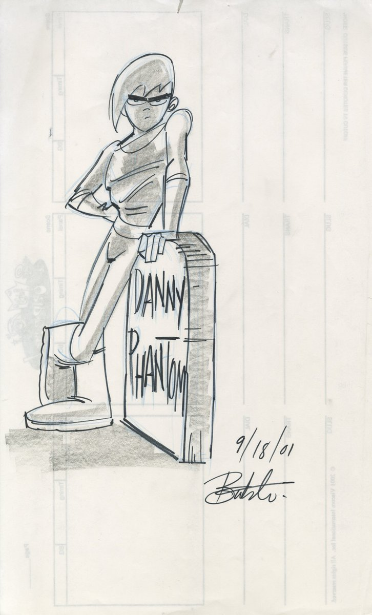 Original #DannyPhantom concept sketch. Drawn on back of #FairlyOddparents storyboard paper. Check the date at the bottom....#nostalgia<br>http://pic.twitter.com/6HzLElKU4V