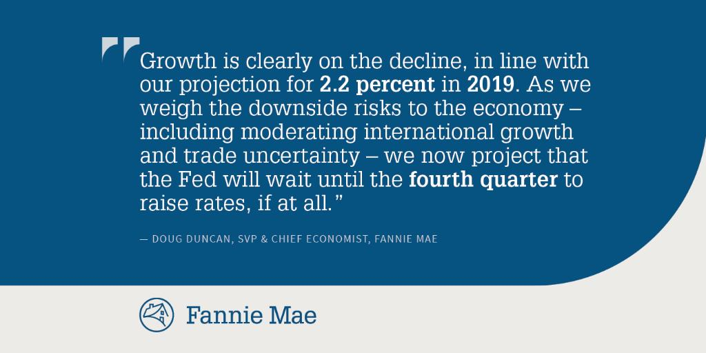 In his latest outlook, @D2_Duncan continues to expect economic growth to slow to 2.2 percent in 2019, down markedly from 2018's 3.1 percent, and says he expects the Fed to wait until the fourth quarter to raise interest rates again (if at all in 2019).  http://spr.ly/6017Ek4mV