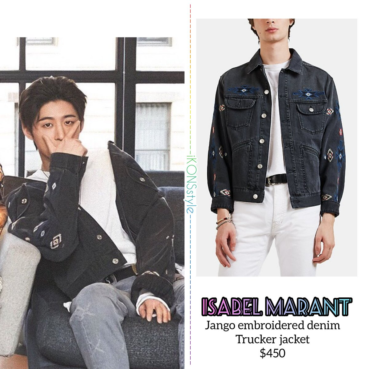 9d4f82f8d9a 《HANBIN》 SXSW Festival ☆Isabel Marant •Jango embroidered denim trucker  Jacket • 450