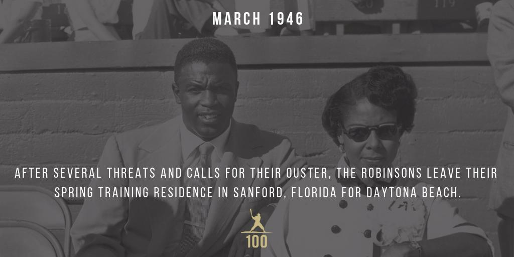 March 1946 - After several threats and calls for their ouster, the Robinsons leave their spring training residence in Sanford, Florida for Daytona Beach. #JackieRobinson #JR100