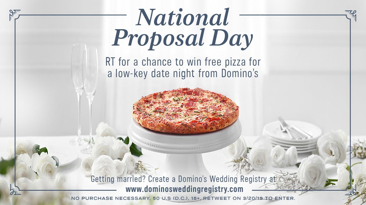 Love is in the air!  We're celebrating #NationalProposalDay by giving away gift items from  http:// dominosweddingregistry.com  &nbsp;  .   RT THIS POST for a chance to win a low-key date night from Domino's!  #WinDominosPizza Rules:  http:// bit.ly/2F9vM9M  &nbsp;  <br>http://pic.twitter.com/fFOaPM7fb4