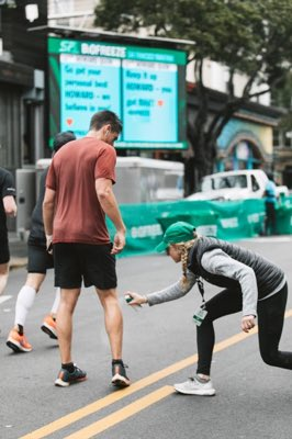 Keep an eye out for the @Biofreeze Relief Zone around Mile 4 where the Biofreeze crew will spray away your aches and pains so you can #FeelNoLimits