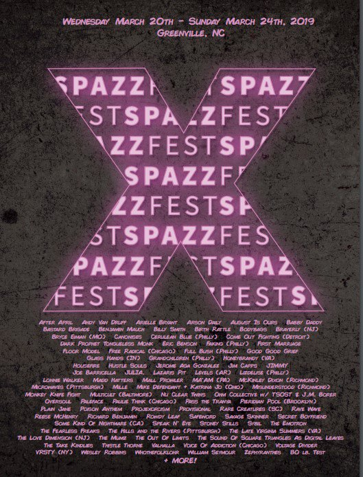 Experience #GreenvilleNC's #DIY #LiveMusic Scene during 5 days of #SPAZZFEST X 3/21 - 3/24 with nearly 100 bands & performers at multiple venues throughout the Uptown and Dickinson Avenue Districts and beyond! 🎶 #visitgreenvillenc Details 👉 http://facebook.com/events/367766337118374/ …