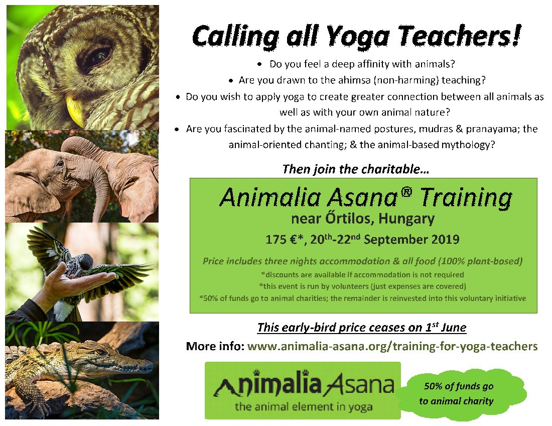 Announcing two charitable Animalia Asana® events in the southwest of Hungary in September 2019!  http://www.animalia-asana.org/training-for-yoga-practition ……/  http://www.animalia-asana.org/training-for-yoga-teachers/ …  #affordableyoga #animalyoga #animaliaasana #yogahungary #yogateachers #notforprofityoga #animalposes #animalasanas #yogastudentspic.twitter.com/VeMNP7fC2V