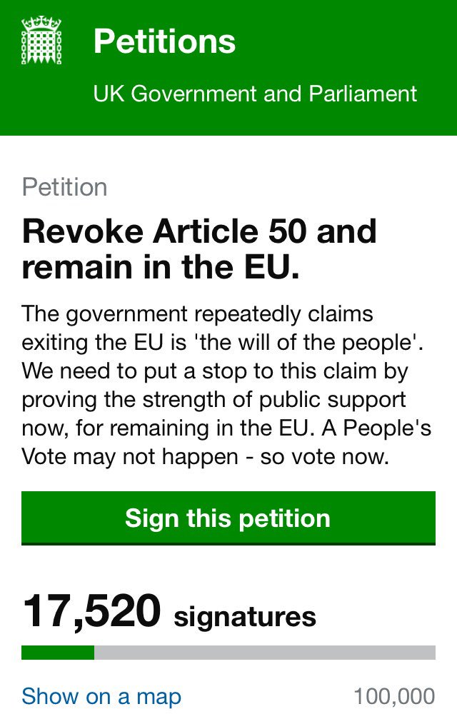 Fellow Remainers!   Let's get this petition up to 17.5 million signatures.   They can't possibly argue with that.   #StopBrexit <br>http://pic.twitter.com/LxRAUbvceV