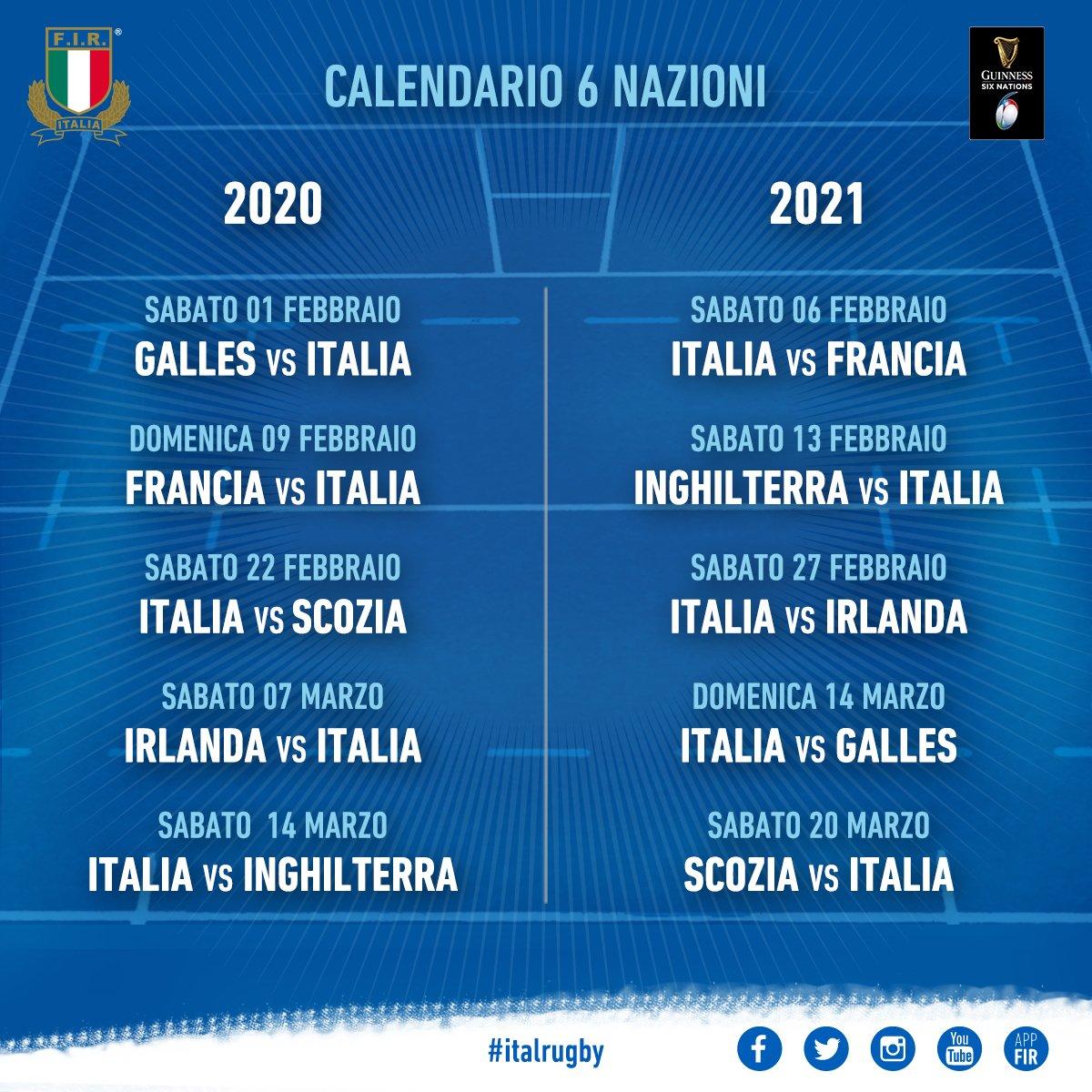 Sei Nazioni 2020 Calendario.Italrugby On Twitter Italrugby Ufficializzato Il