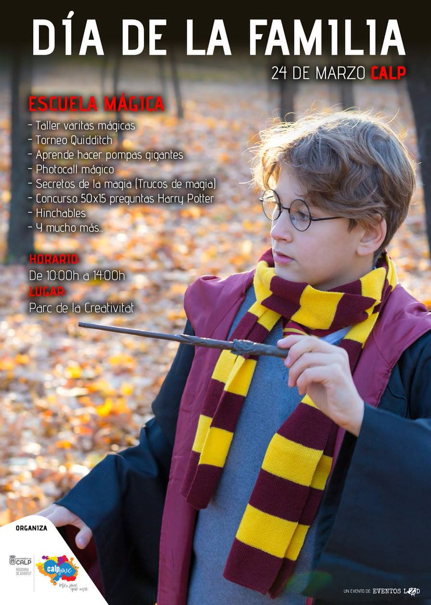 ✨✨¿Te gusta Harry Potter? No te pierdas la jornada del Día de la Familia el 24 de marzo. Ven al Parc de la Creativitat y crea tu propia varita mágica, aprende trucos increíbles, juega al quidditch y mucho más. De 10 a 14h. Evento gratuito. #Calp