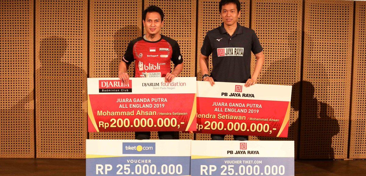 Pasangan ganda putra Indonesia Mohammad Ahsan/Hendra Setiawan mendapatkan bonus dari klub masing-masing karena berhasil meraih juara All England Open 2019.