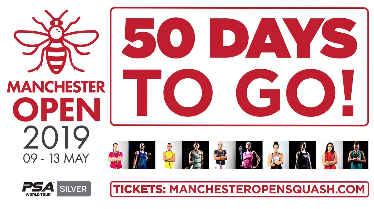 50 days to go until the Manchester Open!  We're excited to host the world's top female players at the National Squash Centre between May 9-13 🙌  Get your tickets here ➡️ http://ow.ly/ZHqa30o7nT8 #squash