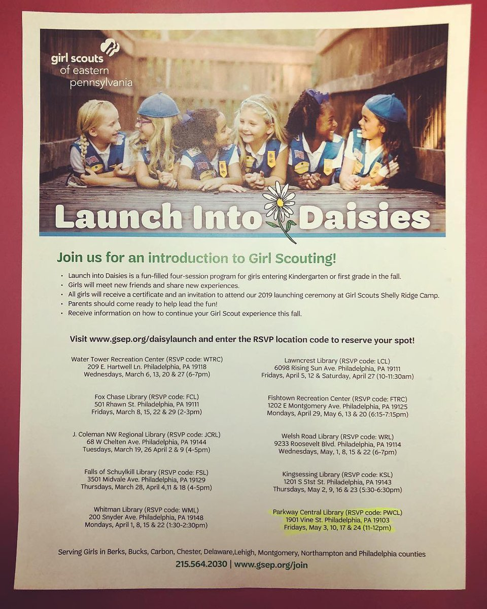 #GirlScouts of Eastern PA's Launch into Daisies, an introduction to girl scouting, is coming to the #library! Join us for the first four Fridays in May from 11 am-12 pm for fun #workshops with the Girl Scout and learn about becoming a Daisy!   #Philly #library