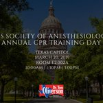 Today the TX Society of Anesthesiologists is hosting its 10th annual CPR Training Day at the Capitol. It only takes an hour to learn how to help someone to live another day! The training will be held in Capitol Room E2.002A at 10:00AM, 1:30PM and 3:00PM. #txlege