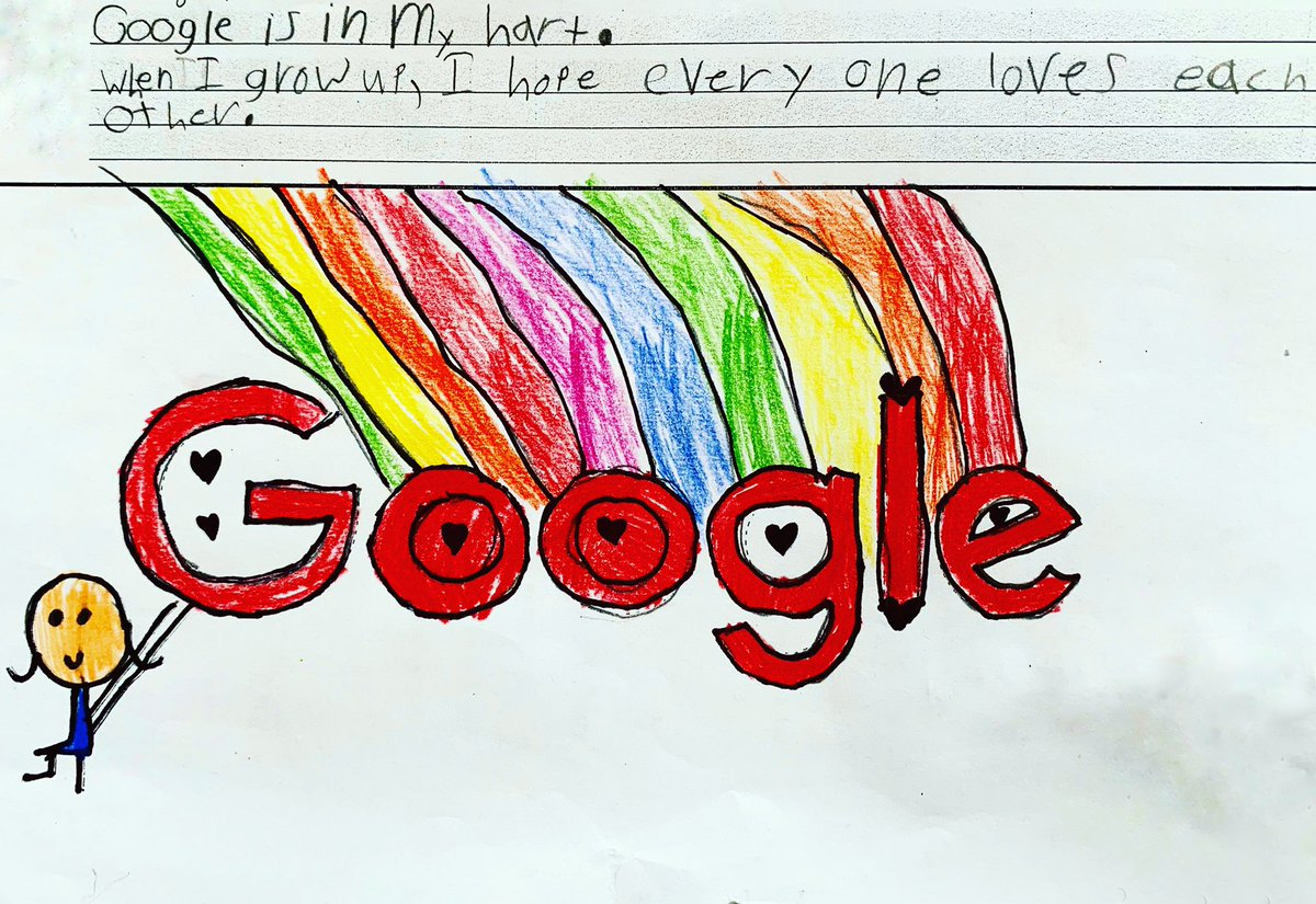 """When I grow up, I hope everyone loves each other.""  My little girl's #GoogleDoodle entry this year. When I saw what she wrote, I thought... oh my girl, I totally get it, agree, and feel the same. #WhenIGrowUp<br>http://pic.twitter.com/cRjTRSeZ1Z"