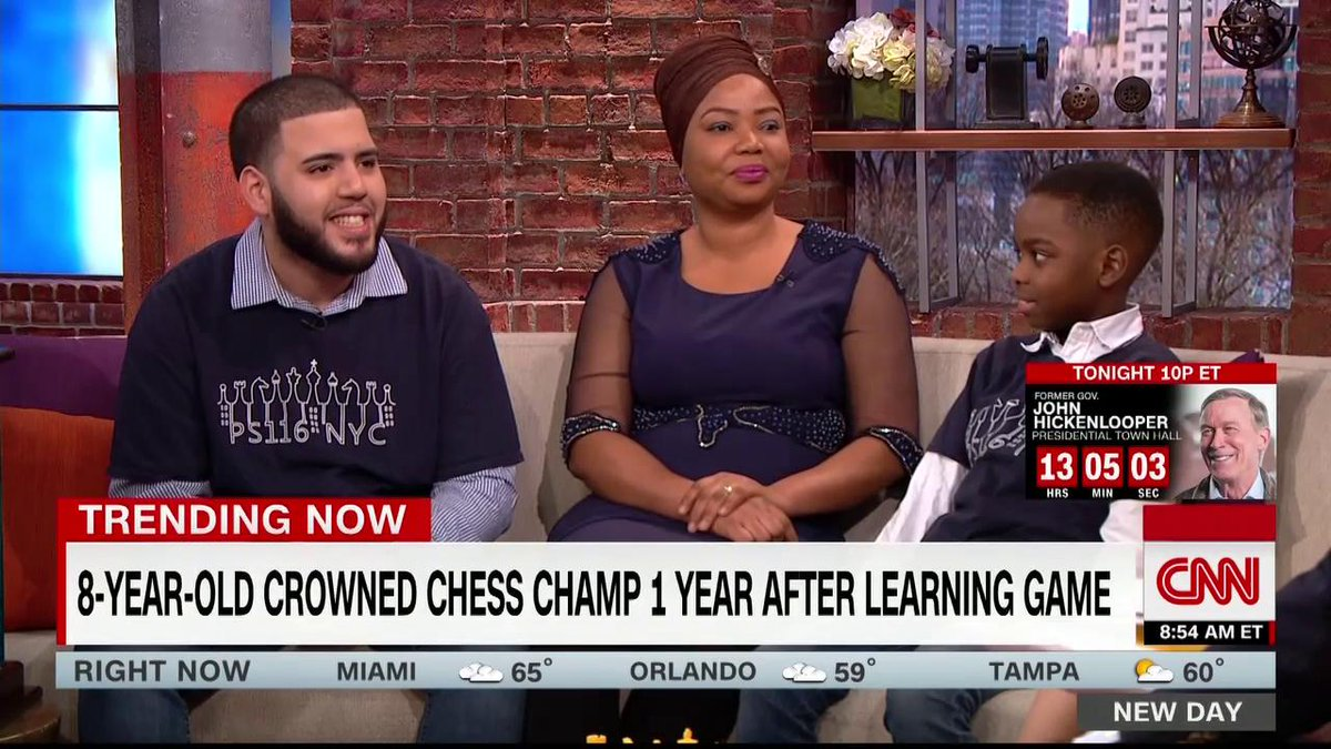 He's 8 years old, an immigrant from Nigeria, and was living in a homeless shelter with his family.   And, after learning to play chess a year ago, he's now a New York champion. https://cnn.it/2CxINIf