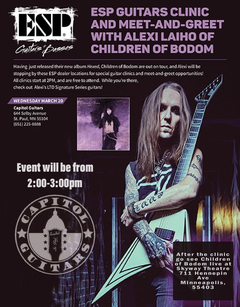 Tonight! #minneapolis Tix still avail at @SkywayTheatre. earlier today- Alexi clinic for @ESPGuitarsUSA . Hope to see allllll the faces. #cobhc #hexedUSA https://t.co/QKG5p8QTRE