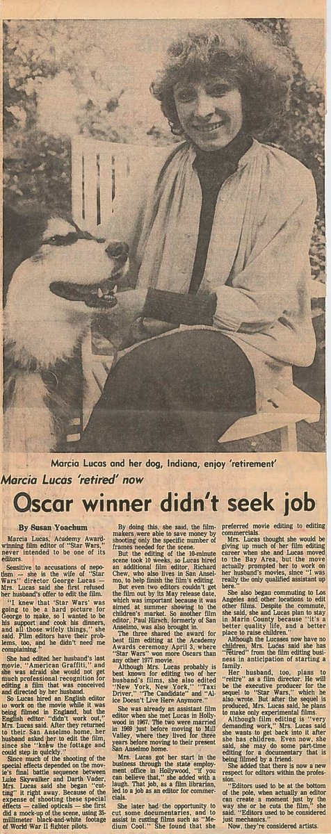 """Daily @Starwars clipping: """"Editors used to be considered just mechanics,"""" says Marcia Lucas (with her dog Indiana) in a rare interview, """"when actually an editor can create a moment just by the way she or he cuts the film."""" [Probably Marin Independent Journal/after April 3, 1978] <br>http://pic.twitter.com/UaOKqEwPXE"""