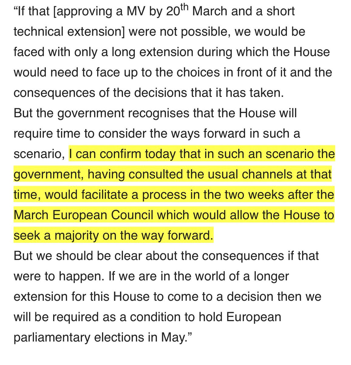 last week Lidington promised that indicative votes would occurs in the first two weeks of April if MV not approved by today ...  This was the basis upon which Benn-Letwin-Cooper-Boles was defeated by 2 votes last Thursday... today PM suggested that indicative votes not needed now