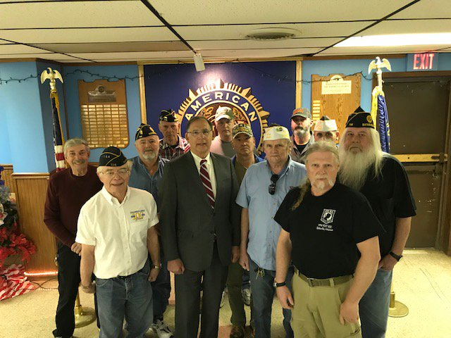 Couple photos from yesterday's visit to American Legion Post 114 in Batesville. Met w/area veterans about how we can assist them w/problems & presented the post w/Congressional Record containing my remarks from the Senate floor honoring the org's centennial anniversary.