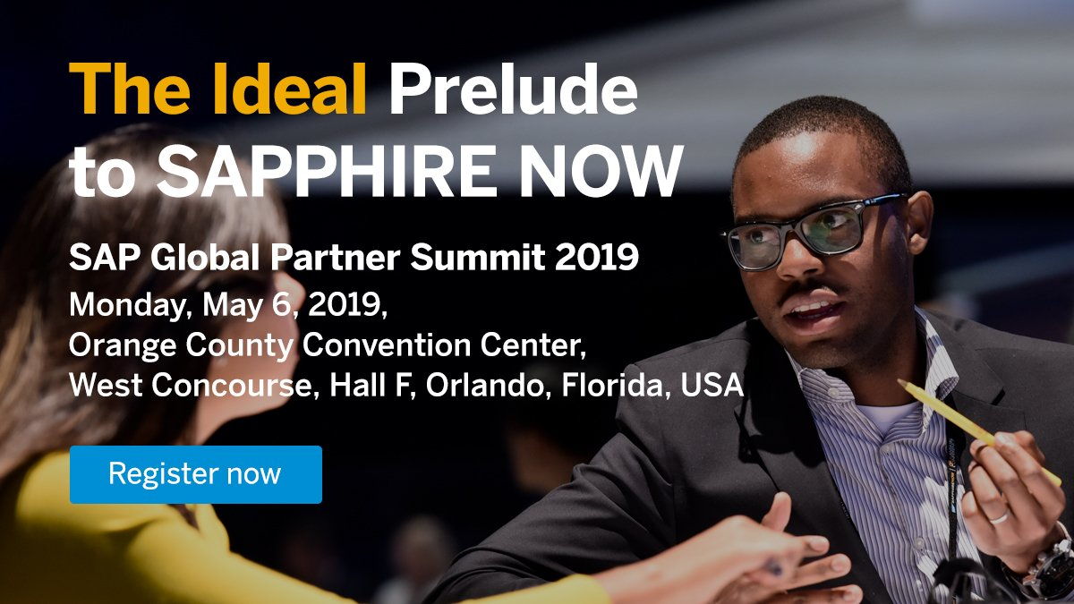 Look forward to speaking at #SAPPartnerSummit on May 6 at #SAPPHIRENOW. Let's talk about how SAP and our partners will deliver the #IntelligentEnterprise in the experience economy to power new business models http://sap.to/6016EnFw8