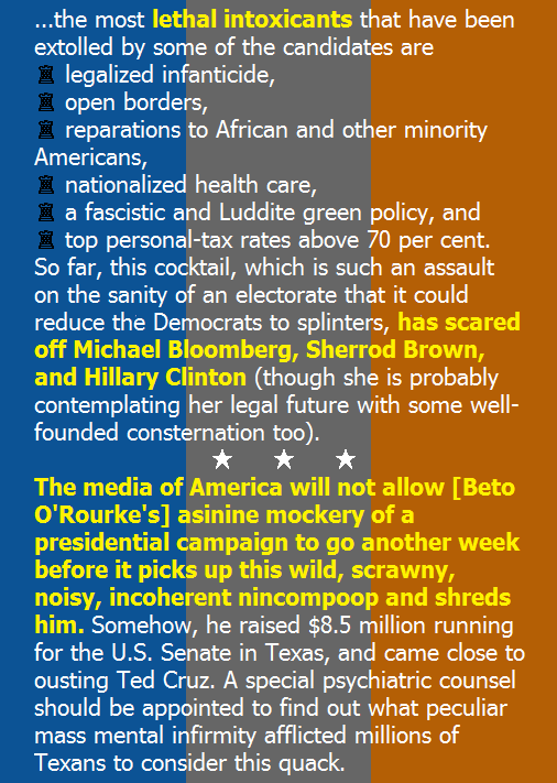 🇶#BetoORourke Support: Inches Wide, Inches Deep? | National Review http://ow.ly/aeN330o7rsI  🔮Beto's Blather: @ConradMBlack predicts #Beto's early exit from the 2020 Preposterous Progressive Maleficent Adventure, courtesy of a sullen, blood-thirsty Leftist Legacy Media.