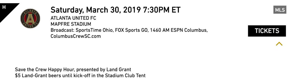 Okay folks.  You asked for #Crew96  promotions.  Let&#39;s advertise &amp; promote it to all of our friends &amp; family.  #SaveTheCrew Happy Hour, presented by @LandGrantBeer  $5 Land-Grant beers until kick-off in the Stadium Club Tent   https:// www1.ticketmaster.com/event/0500563F 9ED22DCC?CAMEFROM=TIXPAGE_033019 &nbsp; … <br>http://pic.twitter.com/PHz1Au3KCZ
