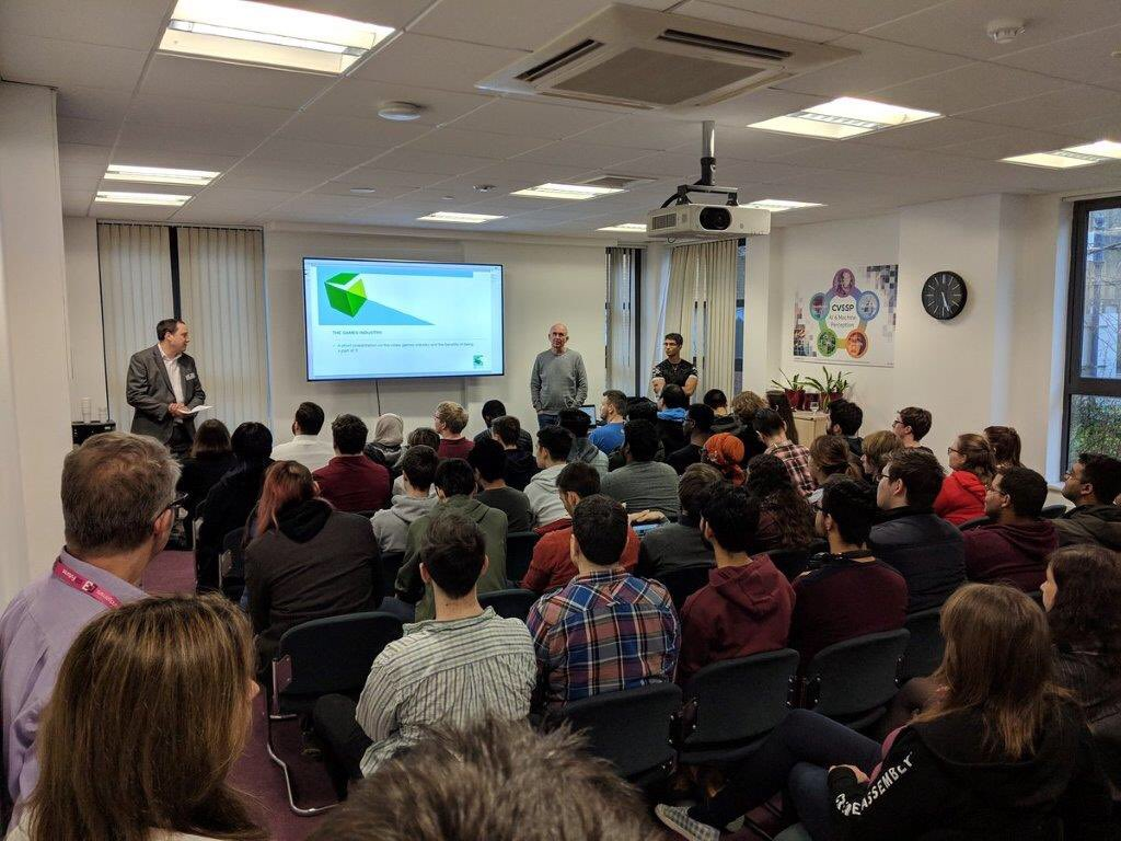 Great to have a full house tonight hosting #G3 @GuildfordGames Student/Industry networking event. Inspirational talk by the industry legend Peter Molyneux to our students about careers in the games industry @pmolyneux @UniOfSurrey