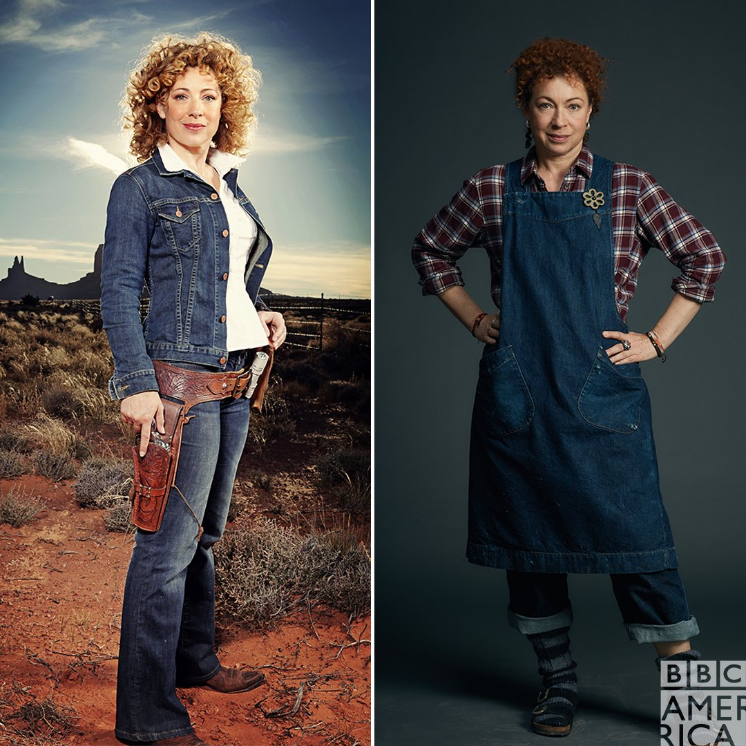 River Song, Sarah Bishop, and denim. Worlds collide starting April 7 at 9pm on @BBCAmerica. #DoctorWho #ADiscoveryofWitches