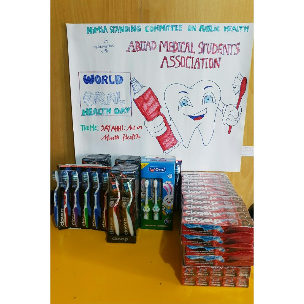 AMSA in collaboration with SCOPH-NiMSA gave out 70 good quality toothbrushes and 70 Close-up toothpastes to kids in FETHI staff primary school and Paediatrics Ward, FETHI.  #AMSA #ABUAD #SCOPH #NiMSA #worldoralhealthday2019<br>http://pic.twitter.com/ZnySq4Z6BF