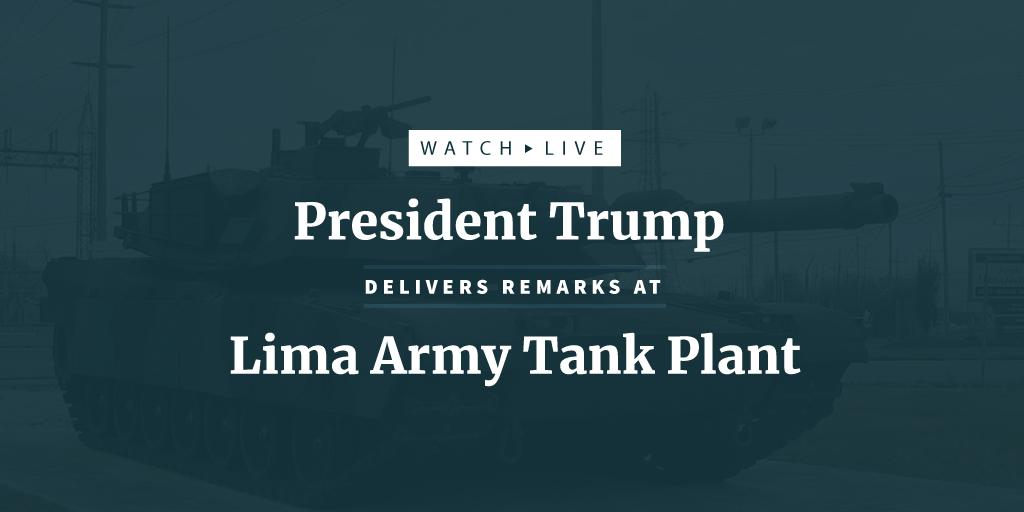 SOON: President Trump delivers remarks at the last tank plant in America. Watch LIVE: https://t.co/EmsdctGWtd https://t.co/K773LJVgFo