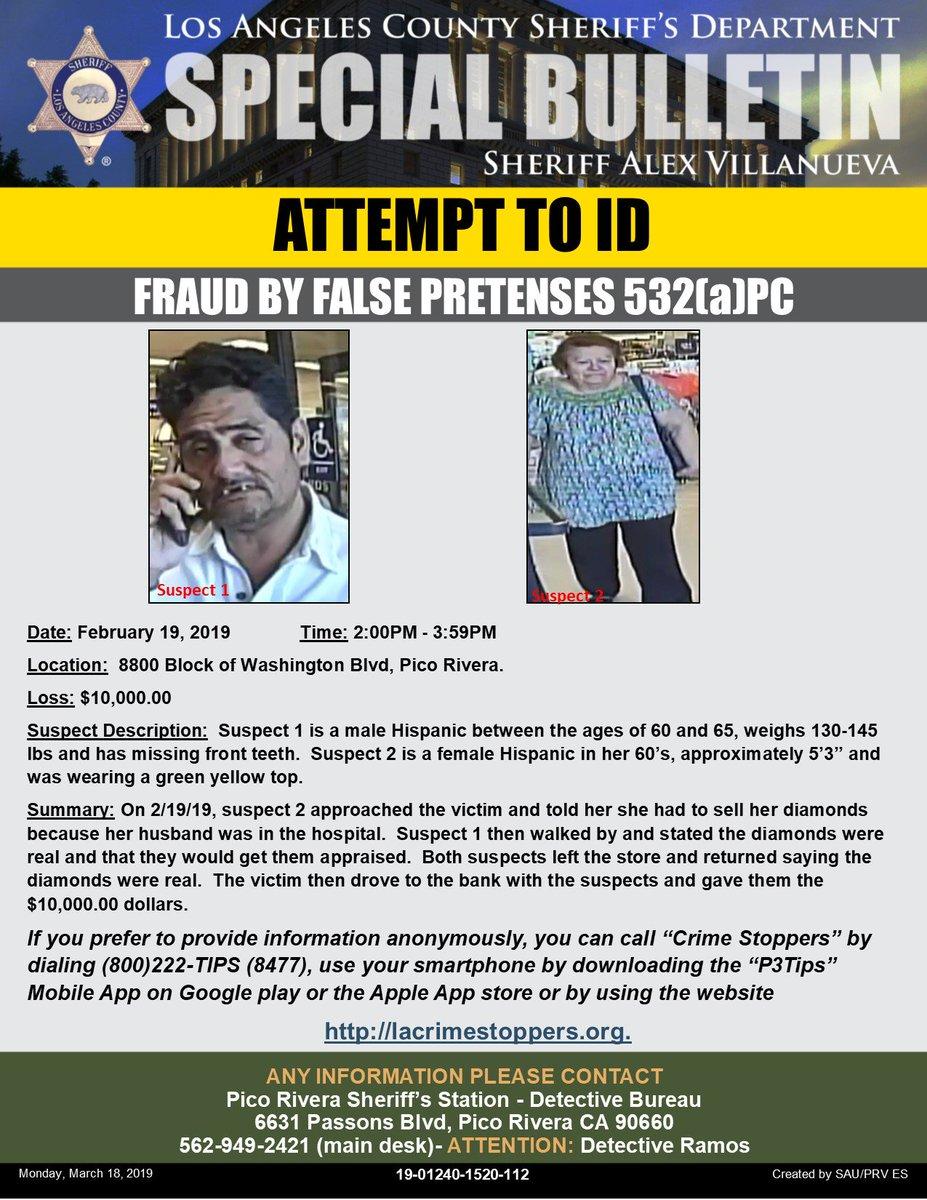 10 MIL DOLARES se robaron in Pico Rivera.  Se busca a dos estafadores.   https://www.facebook.com/LASDEspanol/posts/3099095286783285?__xts__%5B0%5D=68.ARCL_01QtyqvnfqZ9JomaV631LS5JKsosqVaaSphcnUI8XgDX8qNGOOWobdqrM312VYMnBHpxxcjOx-cwKLX5sM3ESAwJGCcvdUnsQe7d3cB6wzBazLoZD25KHk_kiuPGTJogK5IYDwYG0ScNXRaXQKy9up4rDBkSfQzJCvWVI0zNTcN9XPVOD6NEAHzreYN9X5mlfTIcgBoO-7cNzF-XzNs0jUKQMEAxQUiCKItB2q2M1biE9QWVA23_Kt5isrPbJiTrBjYndzsw4GlNI-PuIyUqijD0B45Ul4fWuFZueooilA_dxcajLYJ6IsrFHQJ5NWyv0Vt-RARAT7TShXIfdHV8jDc&__tn__=-R…