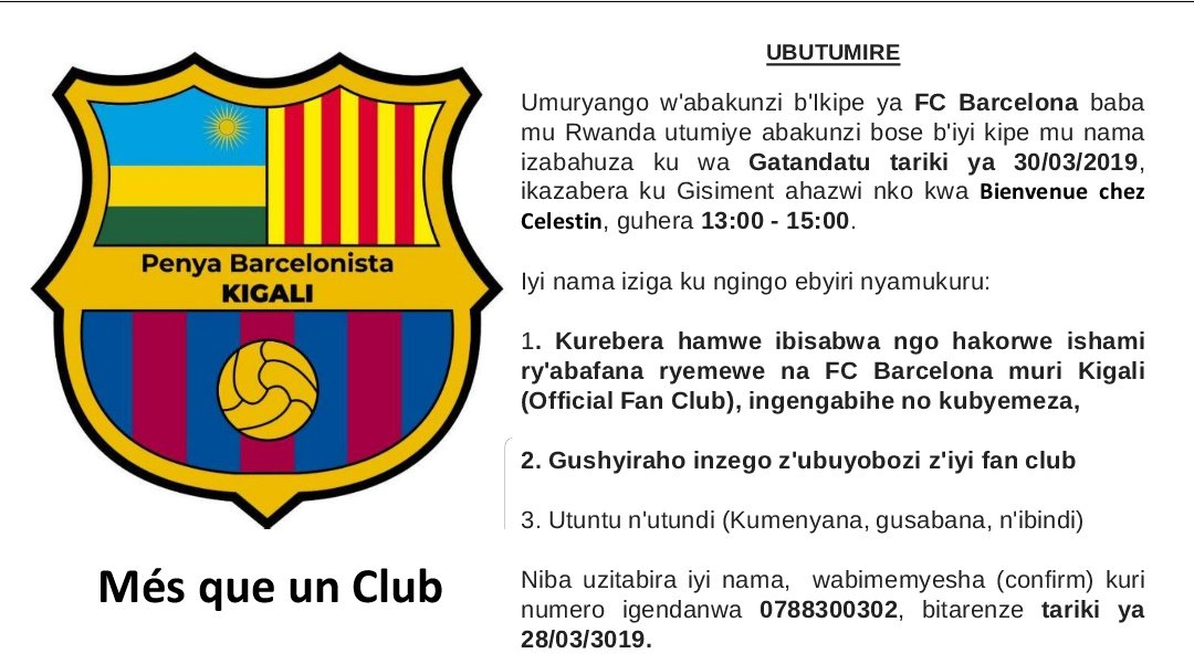 Bimenyeshejwe abafana b'ikipe ya @FCBarcelona i Kigali n'ahandi hose mu #Rwanda #RwOT    🔵🔴