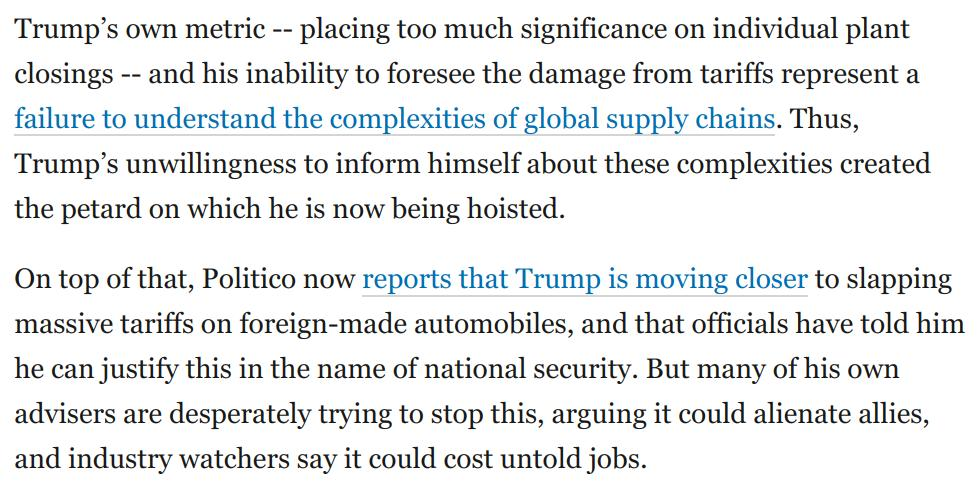Meanwhile, something truly worrisome is developing.  Trump is moving towards slapping tariffs on foreign-made cars.  His administration has produced a report telling him he can do this in the name of national security.  So his Ohio mess could get worse:  https://www.washingtonpost.com/opinions/2019/03/20/what-explains-trumps-mental-strain-his-facade-is-showing-fresh-cracks/?utm_term=.41bb44df4a79…