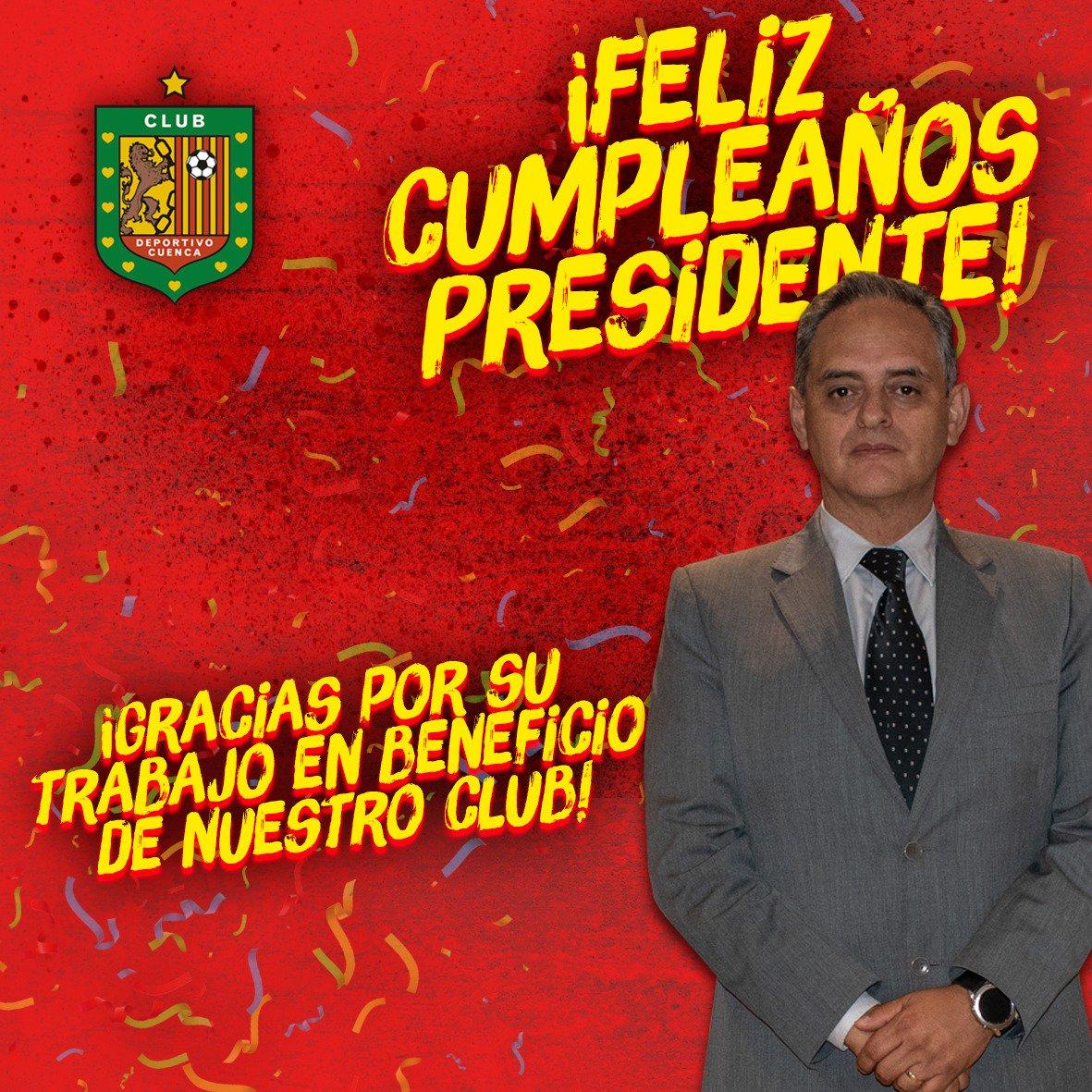 Hoy el CLUB DEPORTIVO CUENCA tiene el agrado de felicitar a nuestro estimado Presidente, el Ing. Claudio Peñaherrera por motivo de su cumpleaños. 🎉 Queremos agradecer por todos sus años de entrega y apoyo incondicional al Club. 🔴⚫ ¡Feliz cumpleaños Presidente @Clapenaher ! 👔