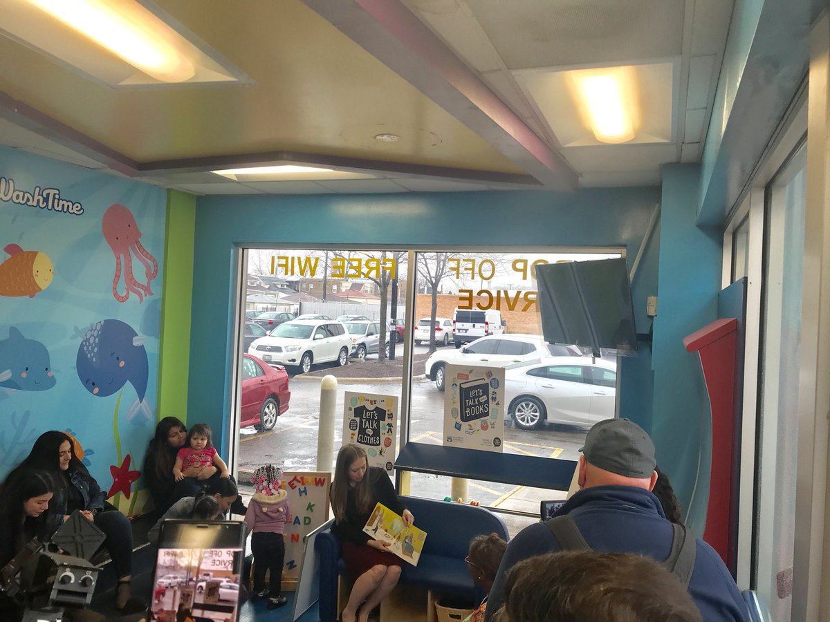 Live from Wash Time Laundromat in Chicago: @ChelseaClinton delivers remarks and reads a copy of TSTF's new #TalkingIsTeaching custom book, DJ's Busy Day! #LaundryLiteracy