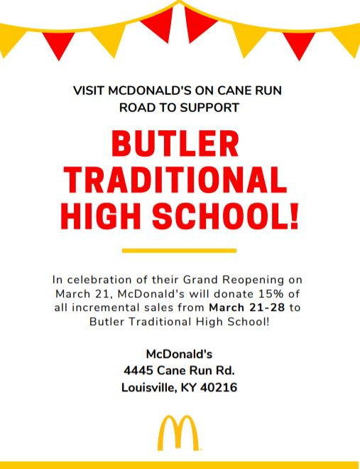 THe newly renovated @McDonalds on Cane Run is running a special promotion for Butler High School.