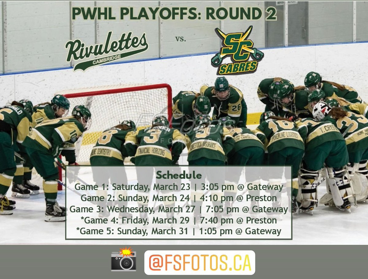 Round 2 vs @SCJuniorSabres is set and begins this Saturday in Stoney Creek.  The #Rivs and Sabres will battle in a best of 5 series for a spot in the @PWHL_Hockey final 4 tournament.   #gorivsgo #pwhl #owha #womenshockey #playoffs @CrGHA  📸 : @FSFotos
