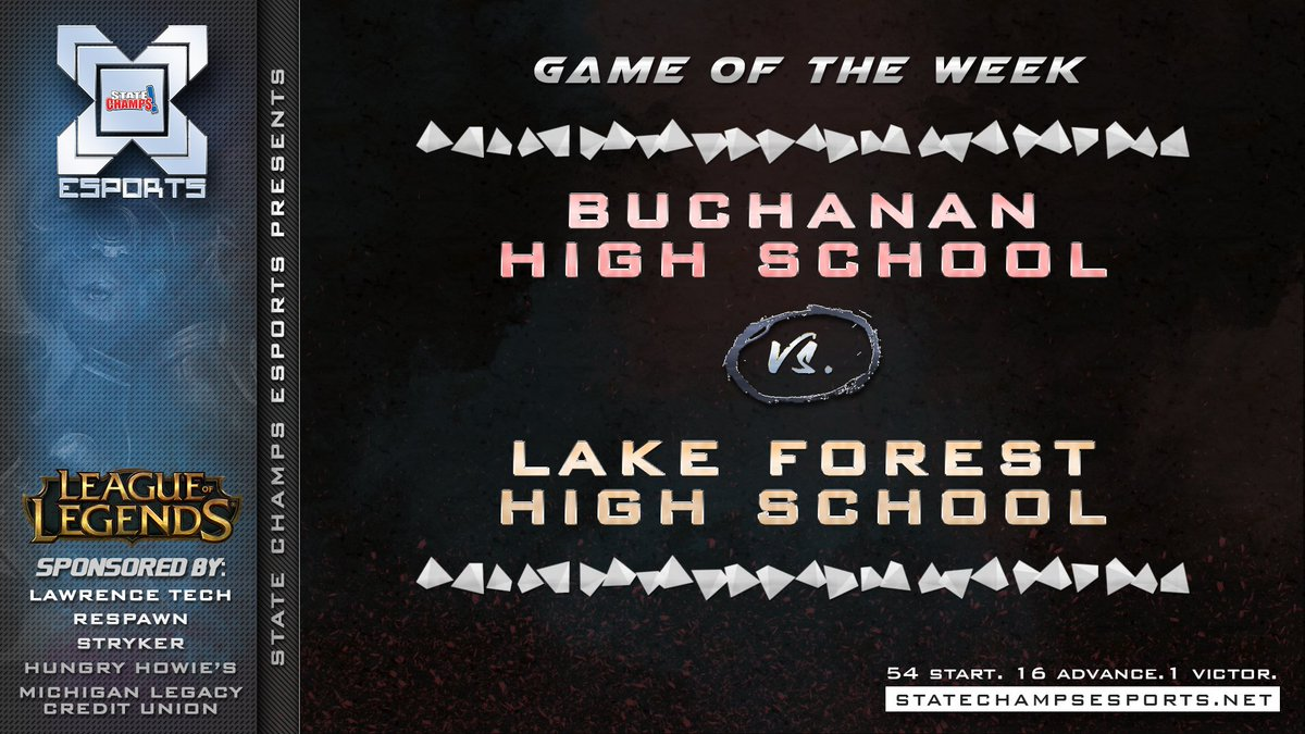 Finally, here are your #GOTW! We have @BHS_Bucks taking on @LfhsE and @CSHSesports taking on @troy_athens. All standings and Games of the Week brought to you by our sponsors: @RespawnProducts @LawrenceTechU @hungryhowies @MILegacyCU and @StrykerComm.