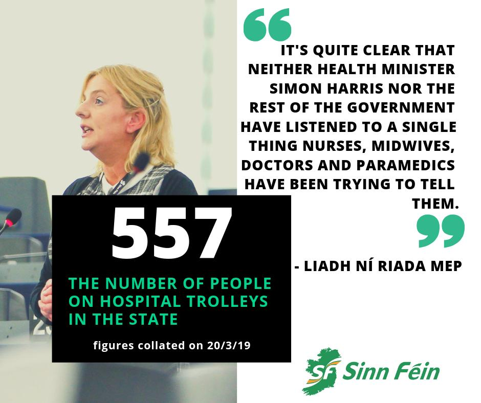 These statistics, while outrageous, are not surprising. This government, far from tackling this crisis, refuses to accept that the crisis even exists. Well there are 557 people on trolleys in hospitals across the country who would disagree with them.  http://liadhniriada.ie/hospital-overcrowding-a-damning-indictment-ni-riada/…