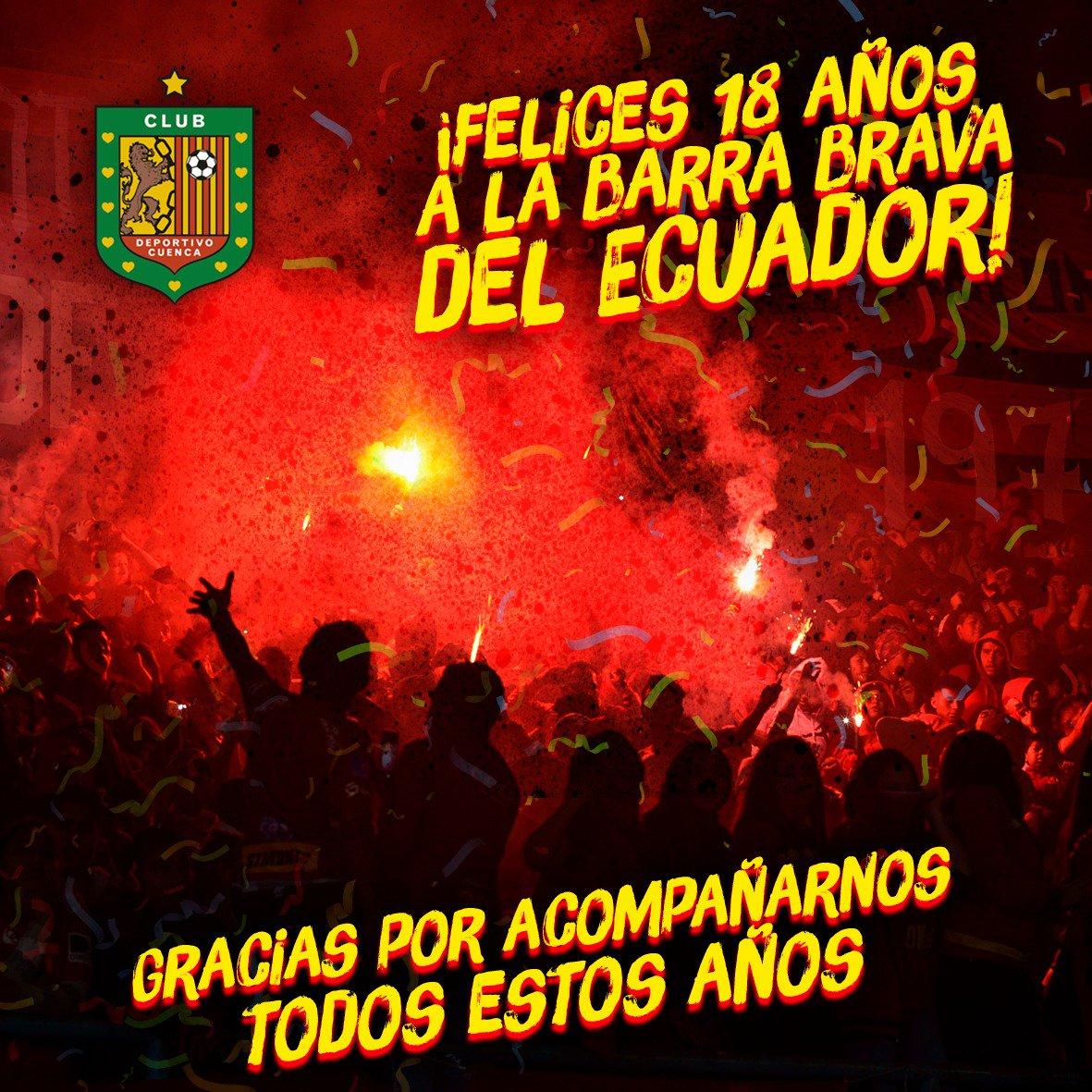 Hoy la CRÓNICA ROJA cumple 18 años. 🎉 Felicitamos a la barra brava del Ecuador y les damos gracias por acompañarnos durante todos estos años en cada partido, por hacer temblar cada estadio en el que hemos jugado, por sus gritos de aliento y apoyo. 🔴⚫ ¡Felicidades amigos! ⚽💪🏼