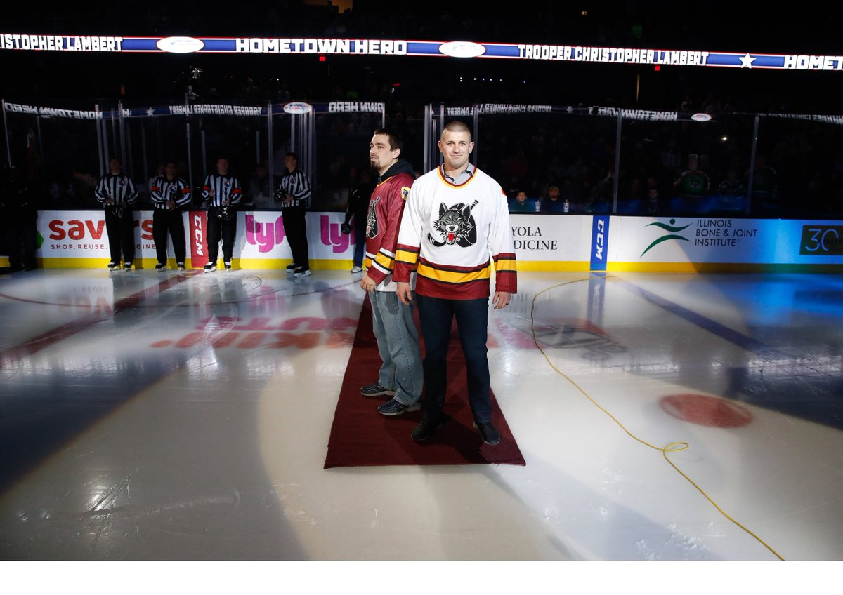 Last Friday, @ILStatePolice Trooper Christopher Lambert was honored by the @Chicago_Wolves on their Hometown Hero Night. ISP Trooper Weber went down on the ice on behalf of the Lambert family. #NeverForget #MoveOver #HockeyTwitter  <br>http://pic.twitter.com/XPaDe9S3Bw