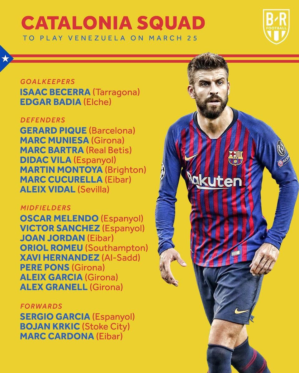 رسميا : منتخب كتلونيا سيلعب مباراة ودية امام فنزويلا يوم الإثنين ، بيكي سيلعب وكذلك تشافي هيرنانديز ..