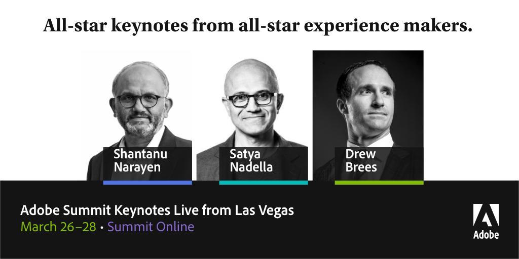 Tune in to Summit Online and catch live #AdobeSummit keynotes from Shantanu Narayen, @satyanadella and @drewbrees https://adobe.ly/2uhWXZF.